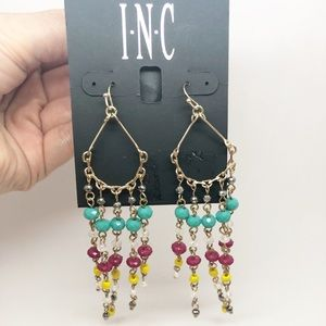 INC Colorful chandelier Earring Gold Tone Drop NEW
